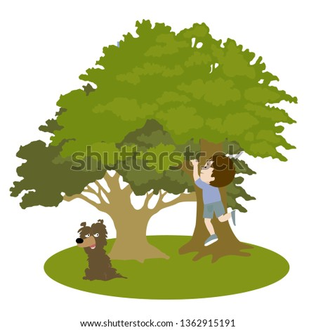 The boy climbs a tree. The boy is playing. The boy in the garden. Boy in a tree .Vector illustration