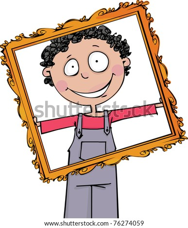 The boy holds a large frame