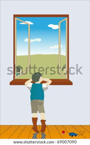 The boy in loneliness looks out of the window, his eyes are full of despondency and thoughtfulness