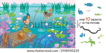 The boy is fishing. Find 10 hidden objects in the picture. Hidden objects puzzle. Funny cartoon character. Vector illustration. Set  Foto stock ©