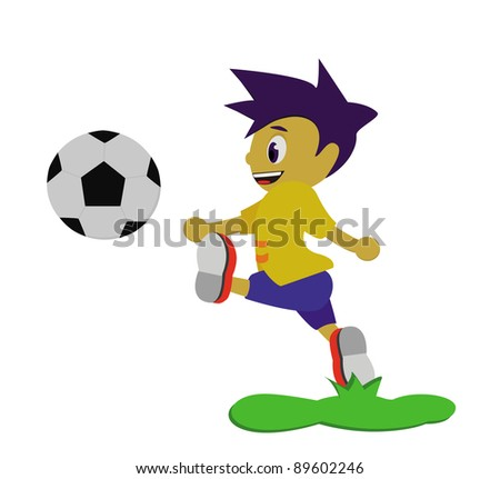 The boy playing soccer.
