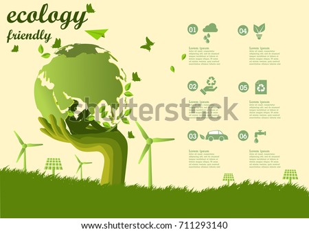 The boy reading a book under The Global ,windmill and solar panels on the grass ,Environmentally friendly world. Vector illustration of ecology,concept Hand to protect the environment and The earth