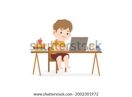 The boy stay home and studying at home, learning online internet network with laptop computer, sitting at a desk and a book pile, apple, toy illustration vector on white background. Education concept.