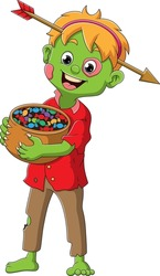 The boy with the zombie costume and the arrow pierce the head of illustration