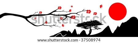 The branch of oriental cherry, mountains and red sun on white background