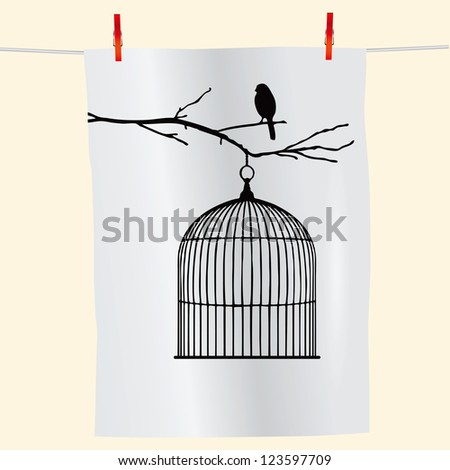 The branch with the bird and an empty cage on the fabric. Vector illustration. - stock vector
