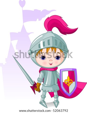 The brave knight and the castle on the back