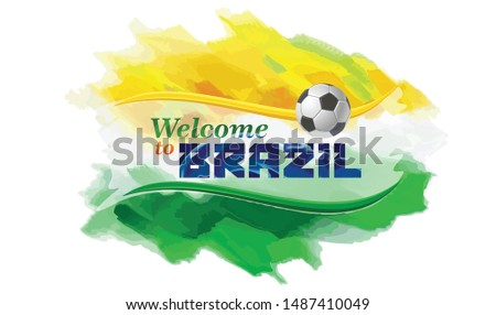 The Brazilian flag background with a football.