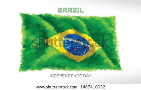 The Brazilian flag on the independence day celebration.