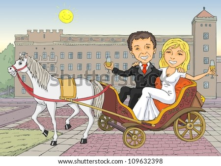 The bride and groom happily sipping champagne while sitting in coach - stock vector