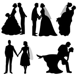 The bride and groom. Set. Collection. The black silhouette of bride and groom on a white background. Vector illustration.