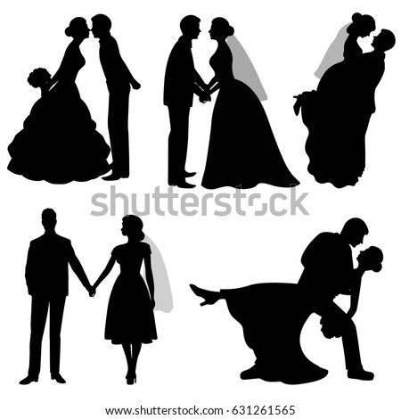 stock-vector-the-bride-and-groom-set-collection-the-black-silhouette-of-bride-and-groom-on-a-white-background