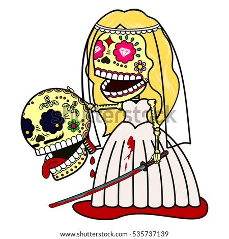 the bride with a katana and a
