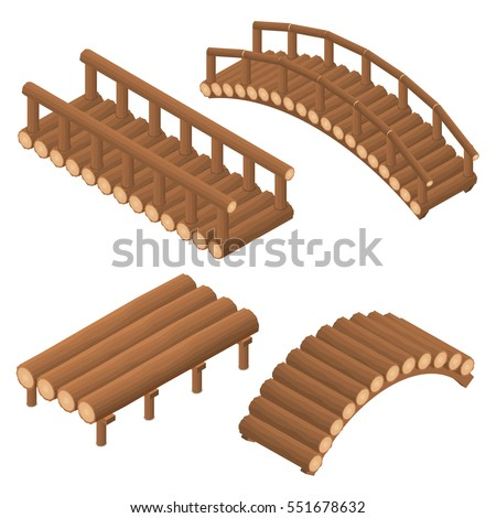 the bridge of wooden logs