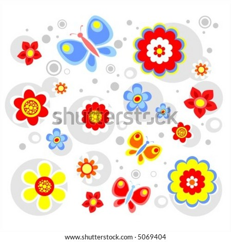 The bright stylized flowers and circles on a white background.