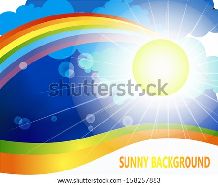 the bright sun illuminates the summer day the forces of nature at the bottom of  a rainbow in the sky background decorative waves beneath them a place for the  signature