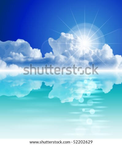 The bright sun, tropical sea, clear sky, fluffy clouds - ecological idyll. Eps10