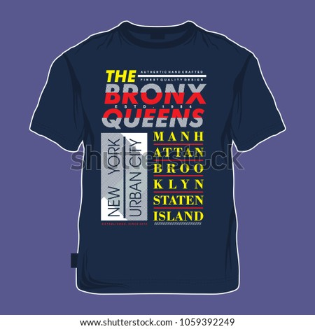 the bronx typography tee shirt design, vector illustration for printing