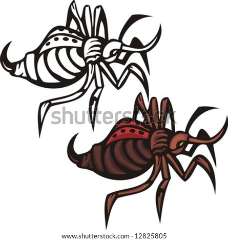 The Brown Beetle With A Thorn In An Abdomen. Insects. Vector ...