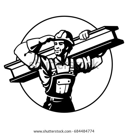 stock-vector-the-builder-bears-the-rail-logo-black-construction-steel-worker-flat-style-vector-illustration