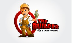 The Builder Mascot Logo Cartoon . Thumbs up builder man character. logo template for any business identity architecture, property, real estate, housing solutions, home staging, building engineers, etc