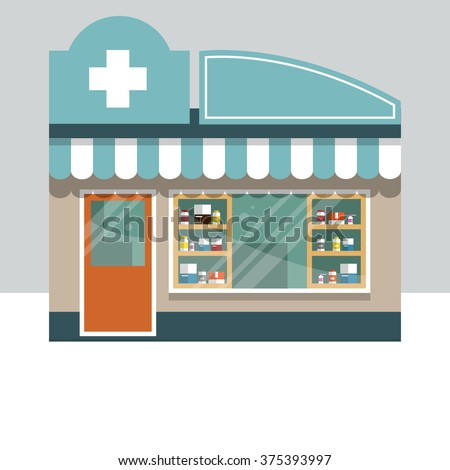 The building of city pharmacy. Showcase with medications. Flat style. Vector illustration.