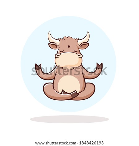 The bull is meditating. Bull in a circle. Illustration for t-shirts or cups. Year of the bull. New Year. 2021. Vector illustration.