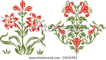The Bunch of flowers in style of an ancient engraving