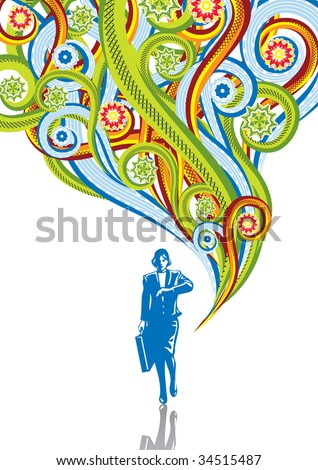 The business woman in abstract collage. Format A4. Vector illustration. Isolated groups and layers. Global colors.