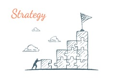 The businessman completes the ladder from the puzzles to get to the appointed place. Vector business concept illustration, hand drawn sketch. Strategy
