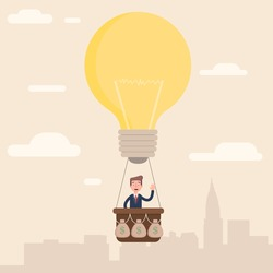 The businessman flies to the top with his idea. Vector illustration in a flat style.
