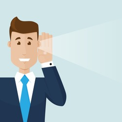 The businessman hear a good news.Modern vector illustration in flat style. The businessman has his hand near his ear and he hears something.