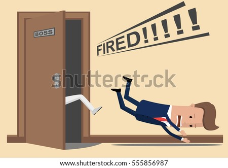 The businessman or manager throw a kick out of the boss's office. Boss dismisses employee. Businessman fired Stock photo ©
