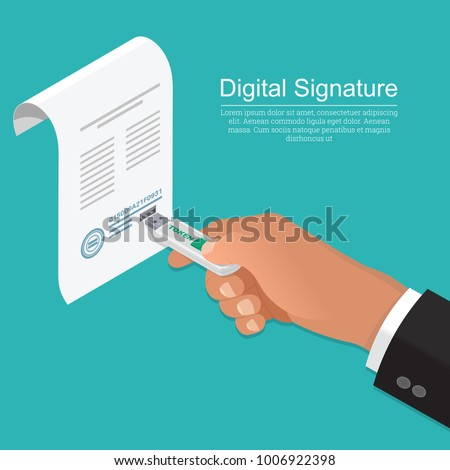 The businessman's hand with the memory stick. The document with the connector.Concept of the digital signature.The company for customer service.Isometry.3D. A vector illustration in flat style.