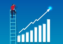 The businessman standing on the ladder to see the top of the arrow