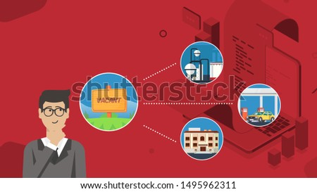 the businessman thinks and thinking of what will be built in the vacant. Man in business suit solving problem in his mind. lots of choices. Vector illustration.