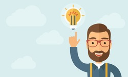 The businessman with a beard pointing to the bulb. Idea concept.  Vector flat design illustration. Horizontal layout with a text space in a left.