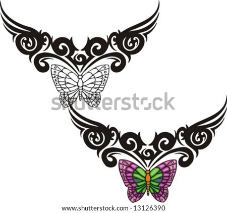 stock vector : The butterfly with violet wings from above a black pattern.