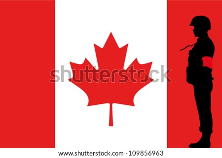The Canadian flag and the silhouette of a soldier with Red Arm Band
