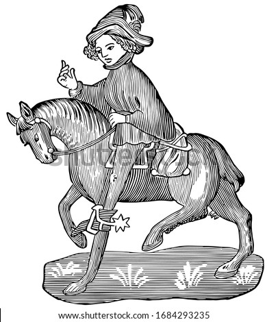The Canon's Yeoman from Chaucer's Canterbury Tales, this picture shows The Canon's Yeoman riding on horse, vintage line drawing or engraving illustration