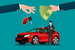 The car dealer's hand make an exchange between the car and the customer's money. Vector illustration design.