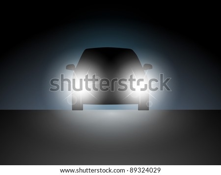 The car in the dark with the included headlights. Vector illustration.