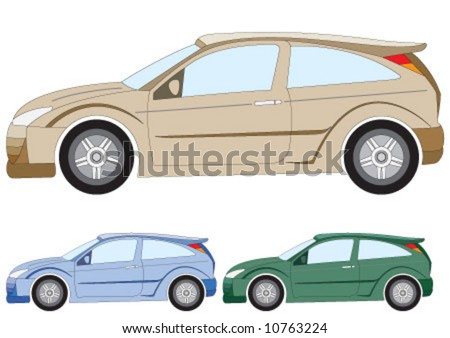 the car in three different color - stock vector