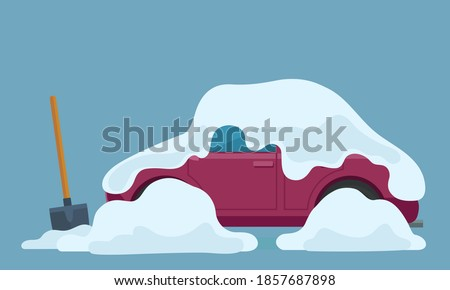 the car is covered with snow