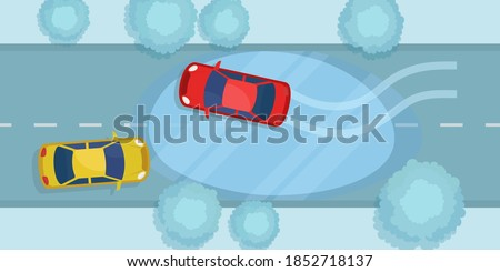 The car slides on the ice on the road. The car skidded on a snowy road. Dangerous driving in winter. Vector illustration, flat design, top view. Foto stock ©