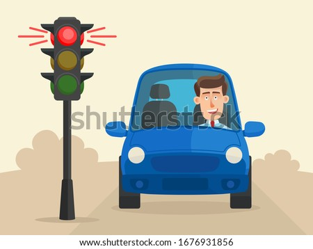 The car stopped at a red traffic light and the driver waits for a green light to come on. Compliance with traffic regulations. Vector illustration, flat design, cartoon style. Сток-фото ©