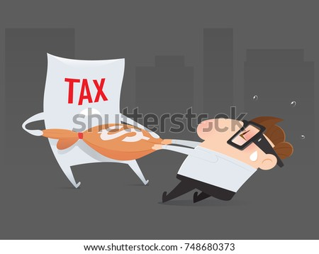 The cartoon businessman is pulling his money return from tax organization, Tax return, Vector illustration