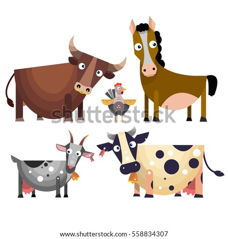the cartoon farm animals set in