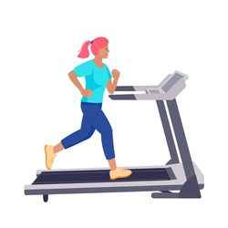 The cartoon girl with pink hair runs  on the running track. Vector colorful isolated illustration.