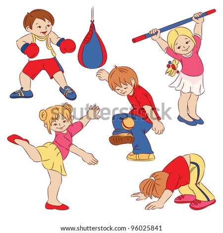 The cartoon small children who are doing sports. - stock vector
